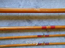 Antique 1935 F. E. Thomas Bamboo Fly Rod 9 Pied De Pied 3/2 Tube En Aluminium Bangor Rod
