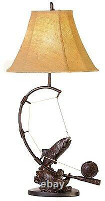 Fly Rod Troute Poisson Table Lampe Pêche Rustique Cabine Lake Lodge Décor