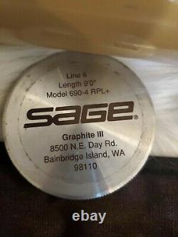 Sage Rpl+ 690-4 Graphite III 9' #6 3 3/16 0z Tige À Mouche État D'utilisation / Menthe