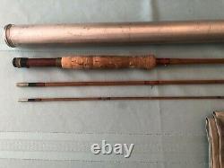 Vintage Heddon #14 Bamboo Mouche Rod 8-1/2-pi Chaussette Et Tube Excellent