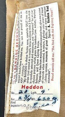 Vintage James Heddon Bamboo Bly Rod 9 Excellent Tube Rare #20